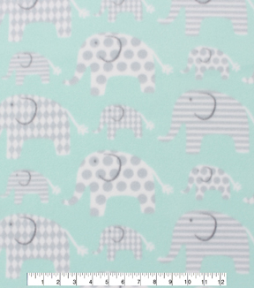 Blizzard Fleece Fabric -Elephants Mint