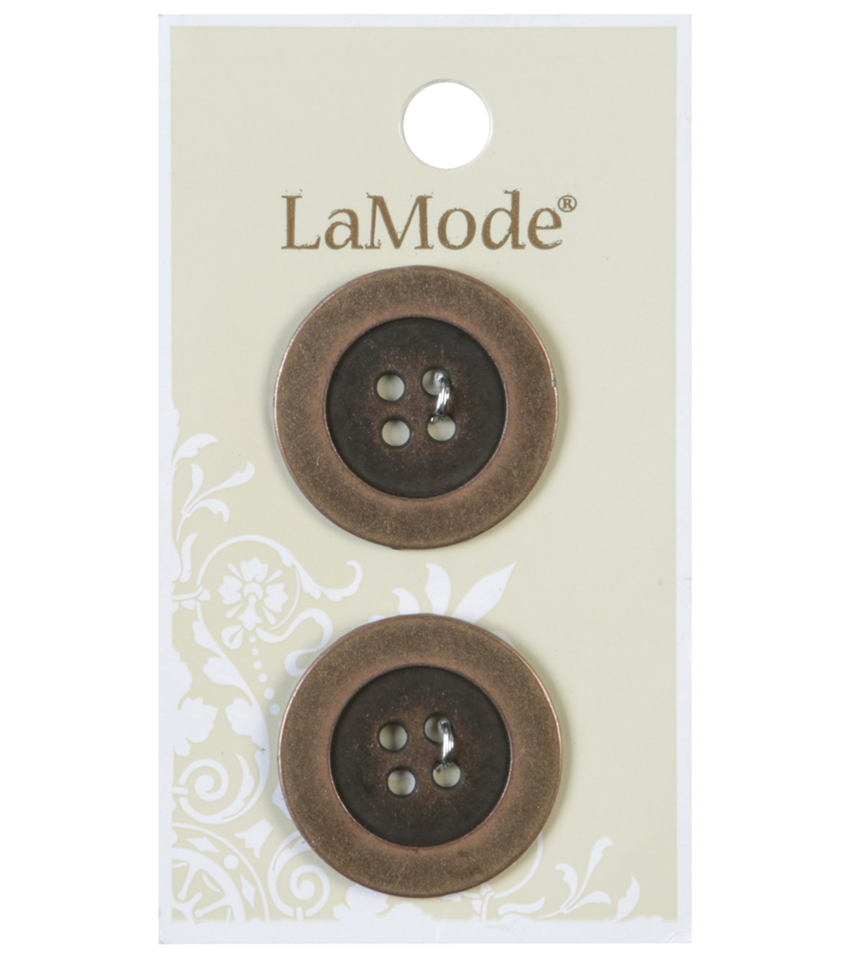 LaMode 4 Hole Antique Gold Metal Buttons 25mm