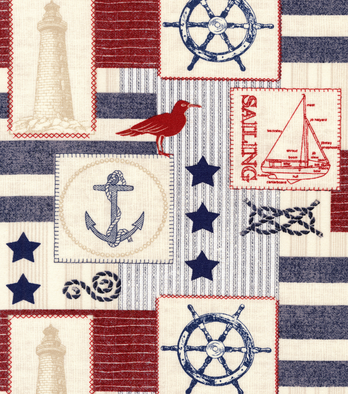 Novelty Cotton Fabric 44\u0022-At Sea Patch