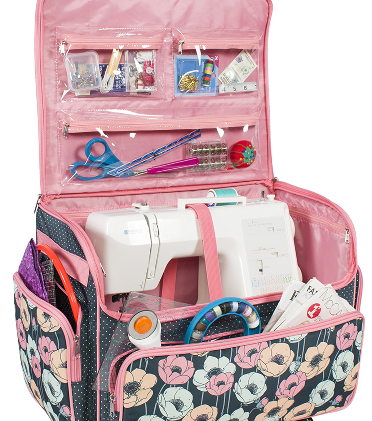 Extra Large 4 Wheel Rolling Sewing Case-Blue Floral