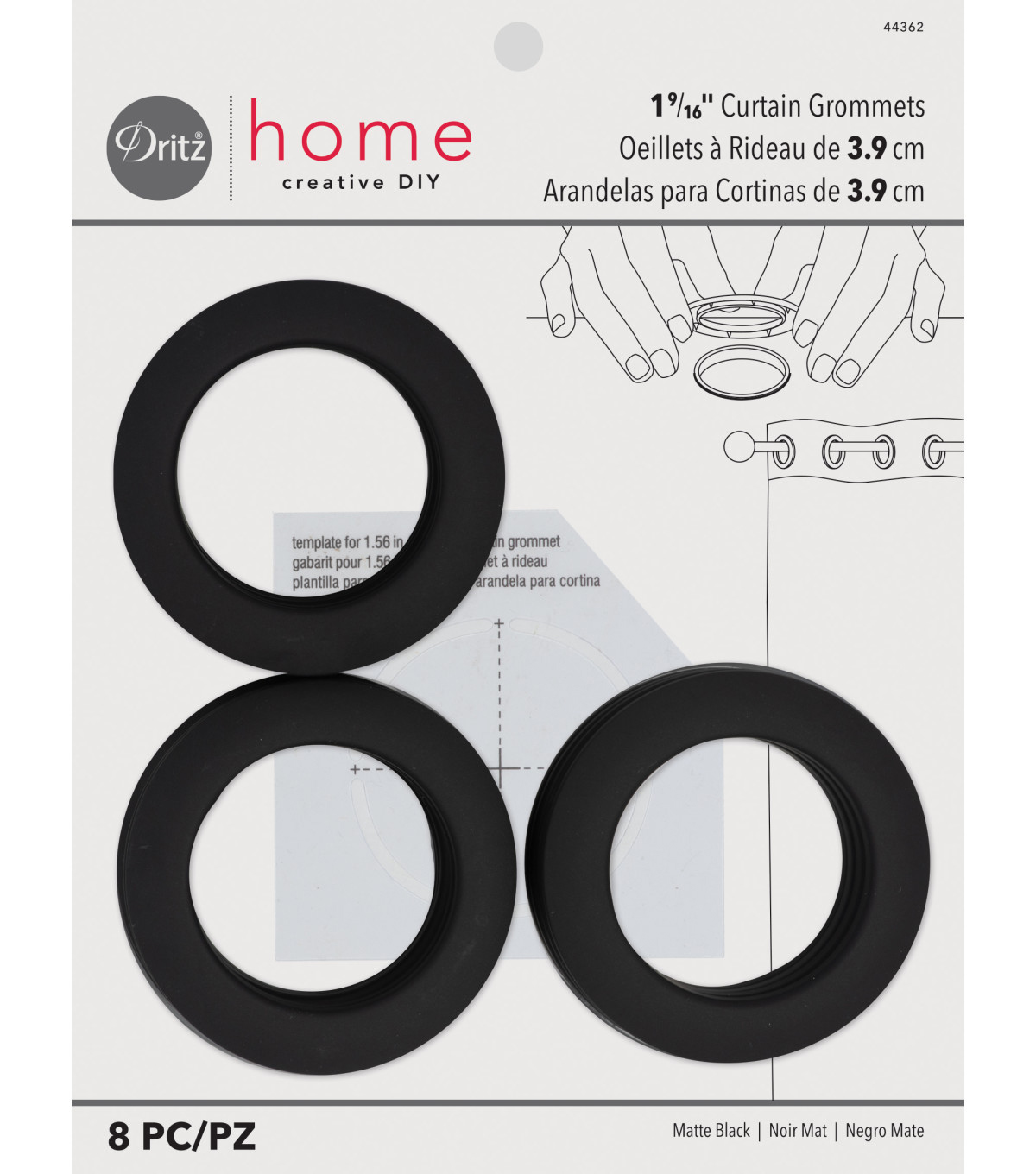 Dritz Home 1.56\u0027\u0027 Curtain Grommets 8pcs Brass, Matte Black