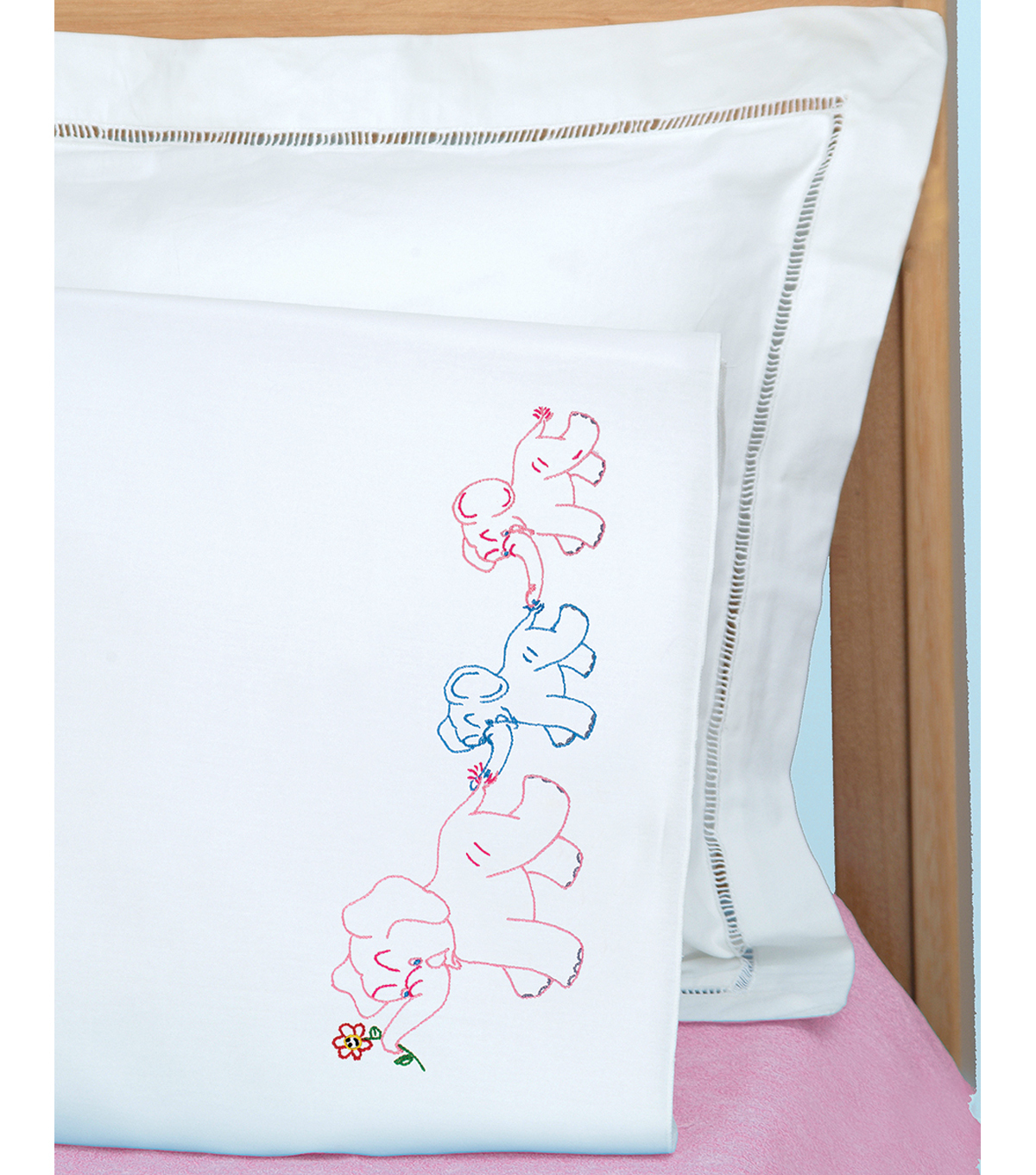 Childrens Stamped Pillowcase With White Perle Edge 1pkg Elephant