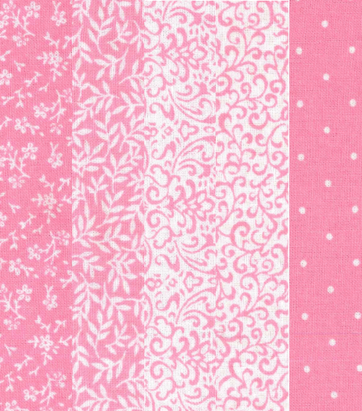 Jelly Roll Cotton Fabric 20 Strips 2.5\u0027\u0027-Assorted Pink & White Patterns