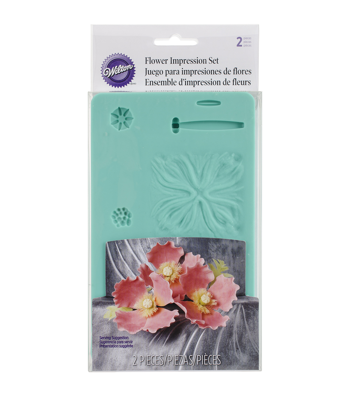 Wilton Flower Impression Molds 6.5\u0022X4.5\u0022 2/Pkg