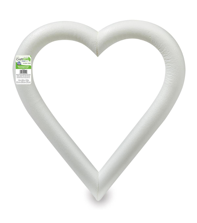 Floracraft 1-1/4\'\'x12\'\' Styrofoam Heart - 1PK/White | JOANN