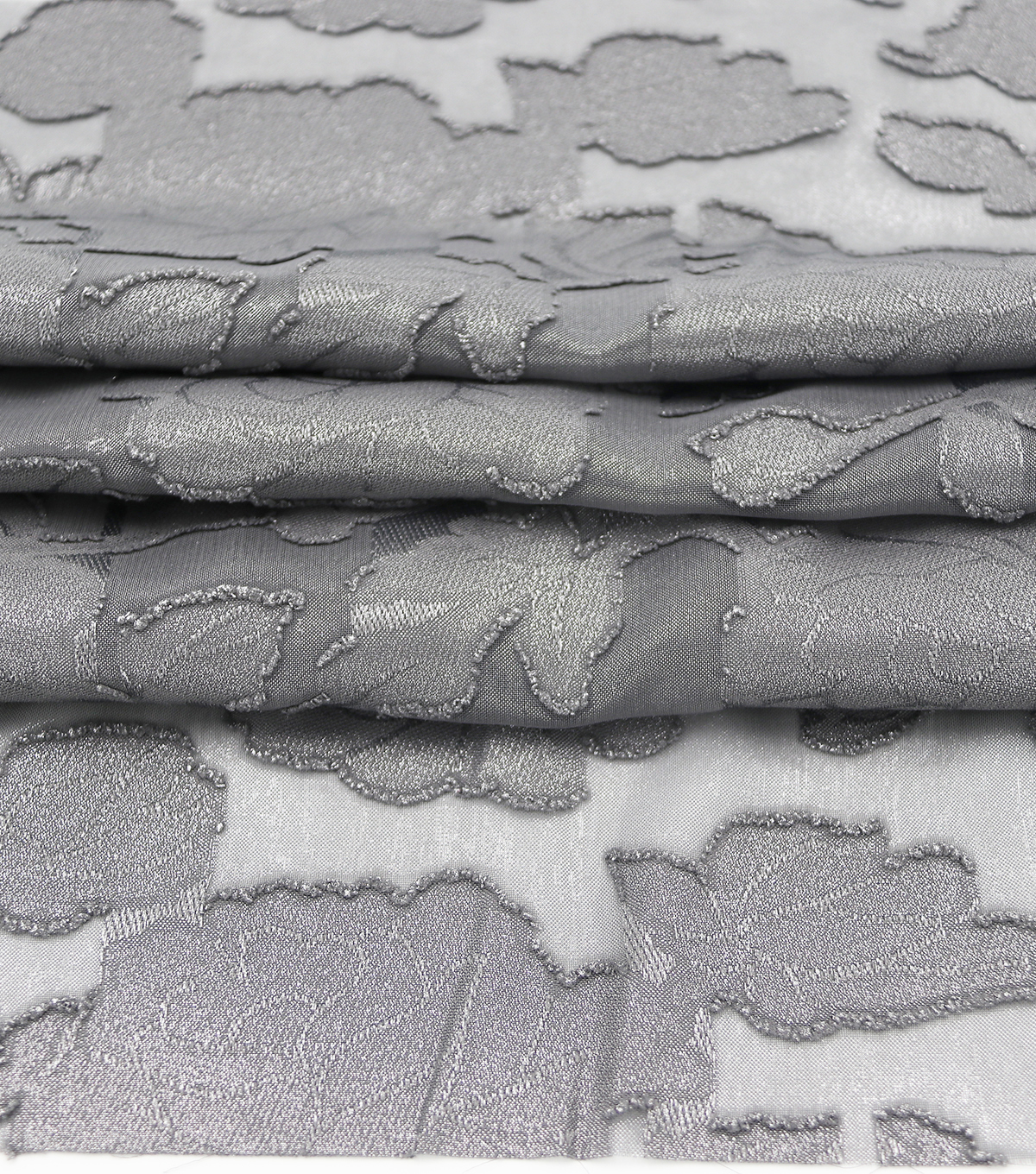 Holiday Shine Jacquard Fabric 57\u0022-Pewter Floral Foil