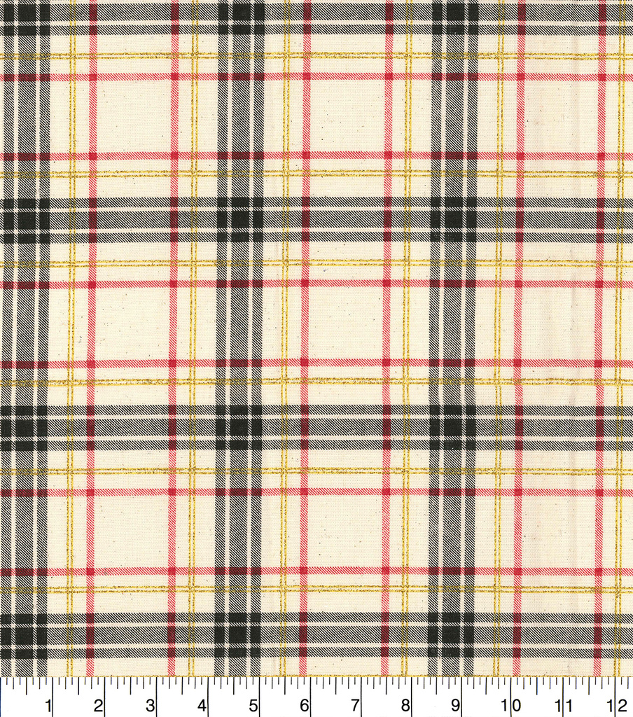 Christmas Cotton Fabric-Osnaburg Plaid with Glitter