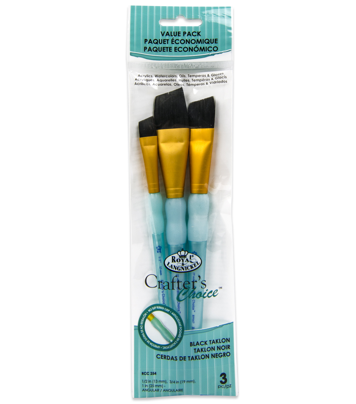 Royal & Langnickel Angular Brush Set 3pk-Black Taklon