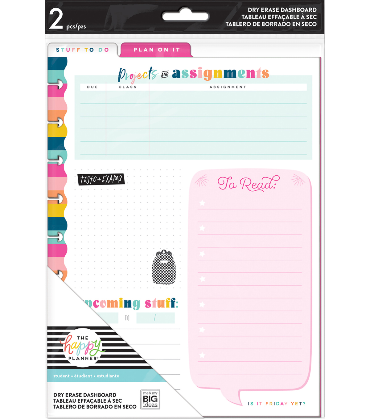 The Happy Planner Classic Dry Erase Dashboard-Student