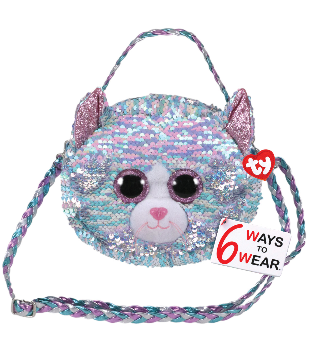 Ty Inc. Reversible Sequin Whimsy Cat Purse