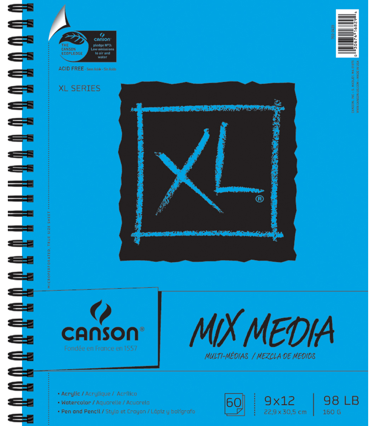 Canson XL Spiral Multi-Media Paper Pad 9\u0022X12\u0022-60 Sheets