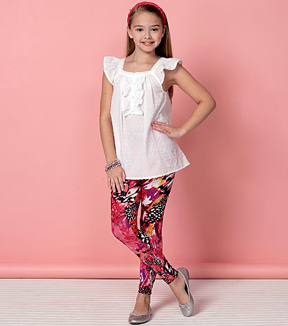 Kwik Sew Pattern K4153 Girls\u0027 Square-Neckline Tops & Leggings-Size XS-XL