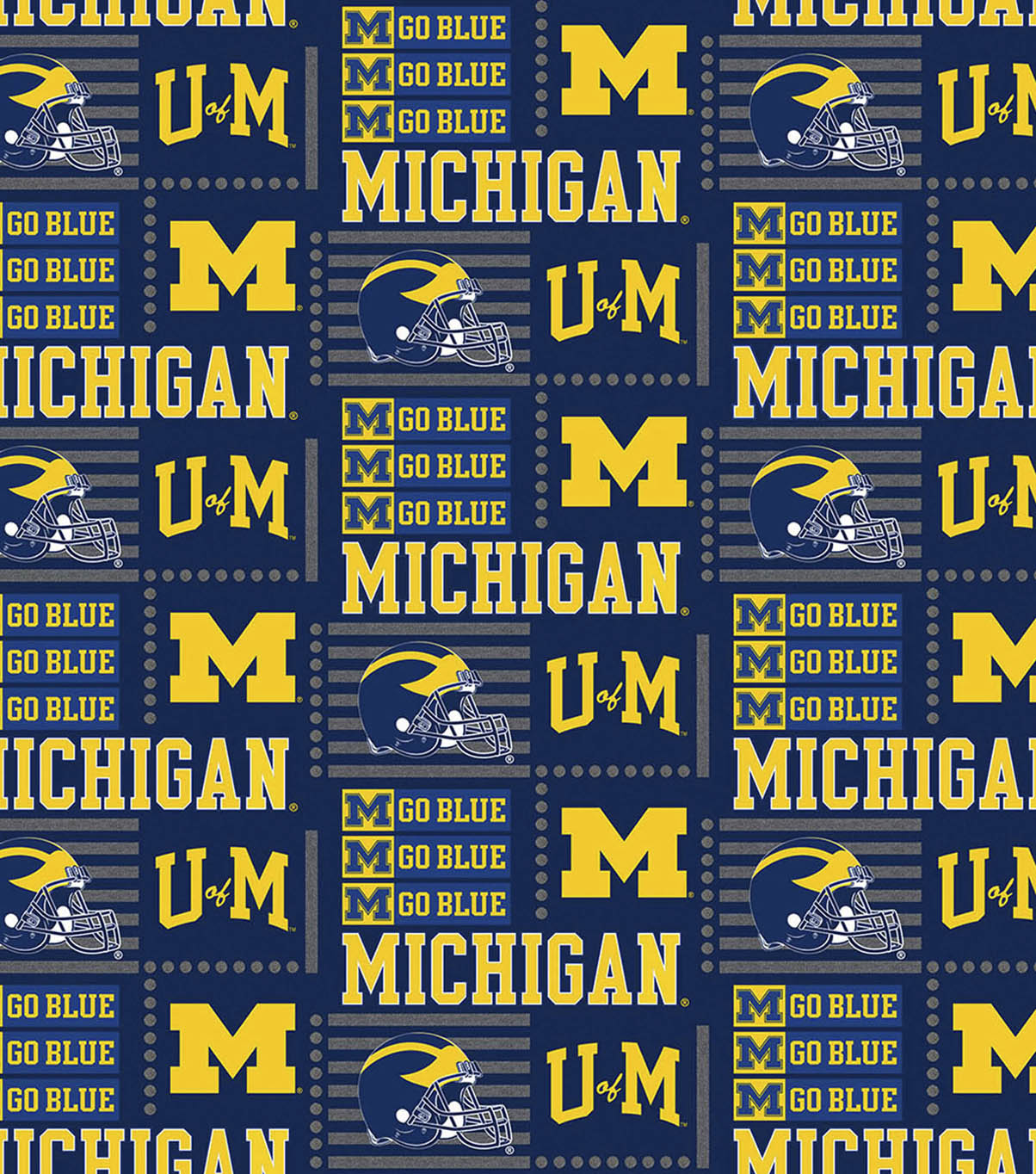 University Of Michigan Wolverines Cotton Fabric Patch Logo