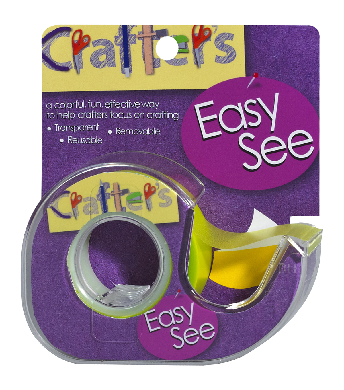 Crafter\u0027s Easy See Removable Craft Tape .5\u0022X720\u0022-Yellow