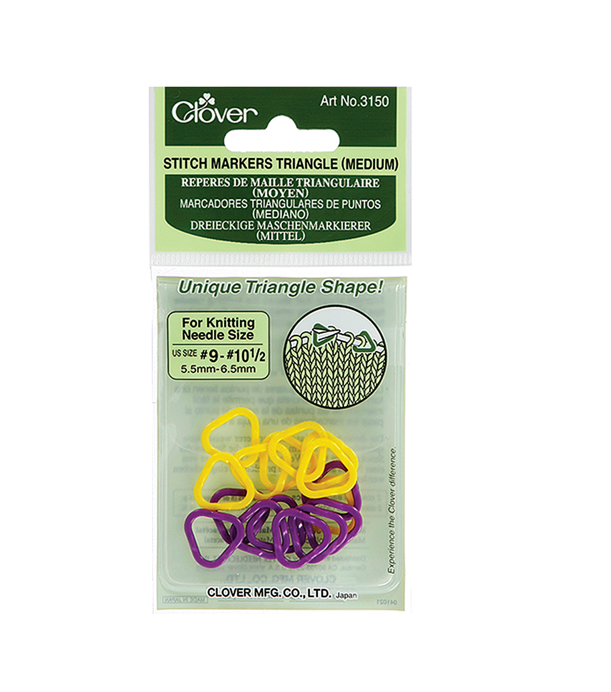 Triangle Stitch Markers Medium-Sizes 9-10-1/2 2 Colors 16/Pkg