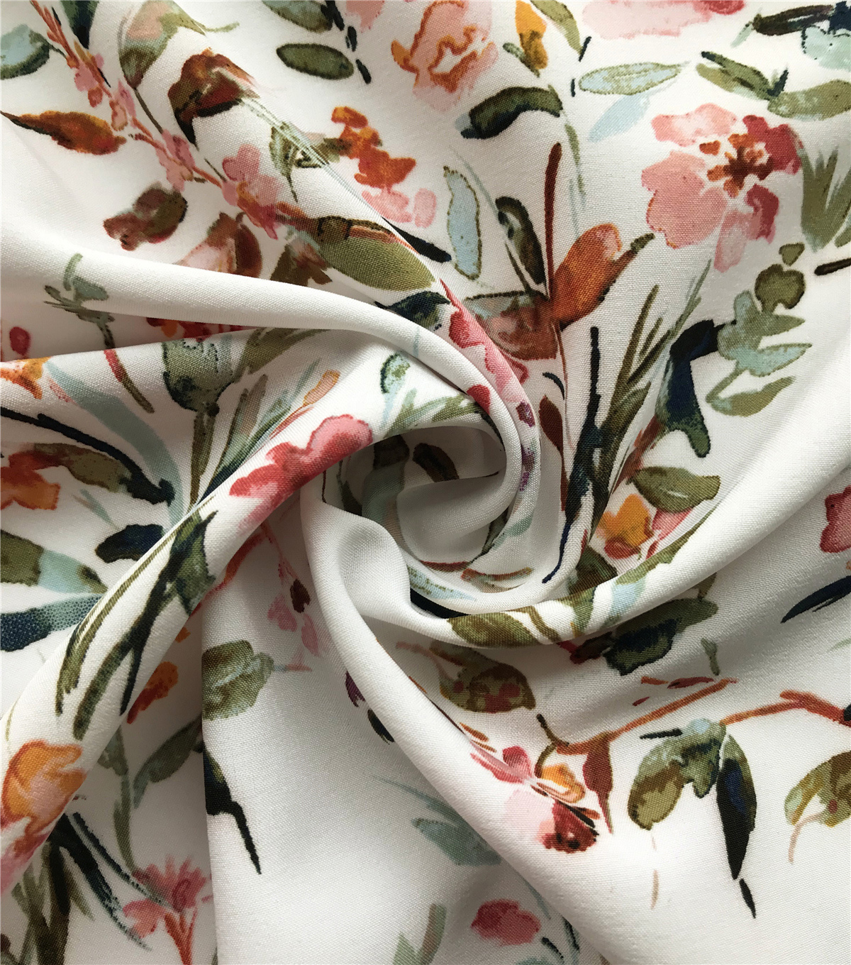 Silky Stretch Chiffon Fabric-White Multi Floral Spray