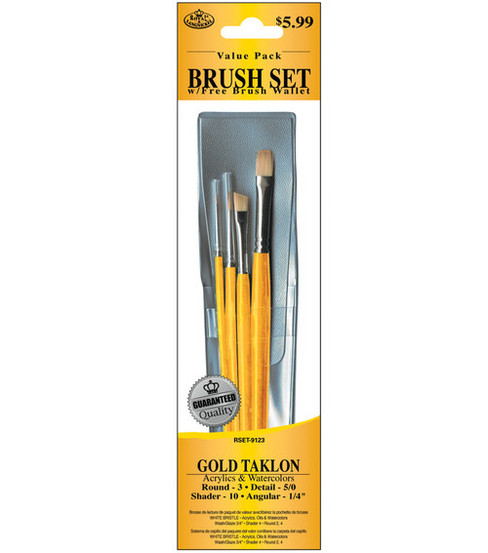 Royal Langnickel Taklon Brush Set Value Pack with Free Brush Wallet-Gold
