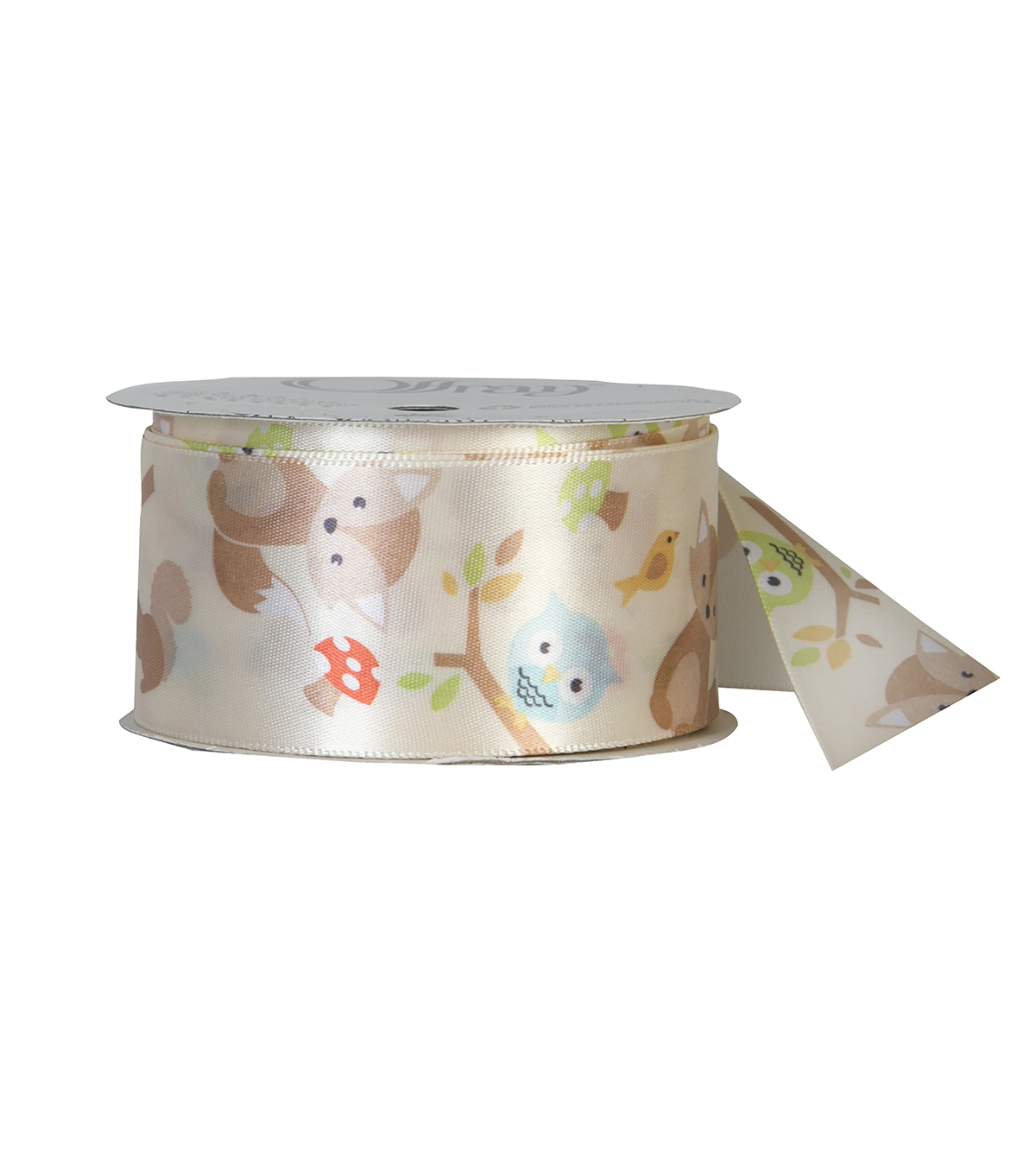 Offray 1.5\u0022x9\u0027 Forest Fox Animal Single Faced Satin Ribbon-Cream