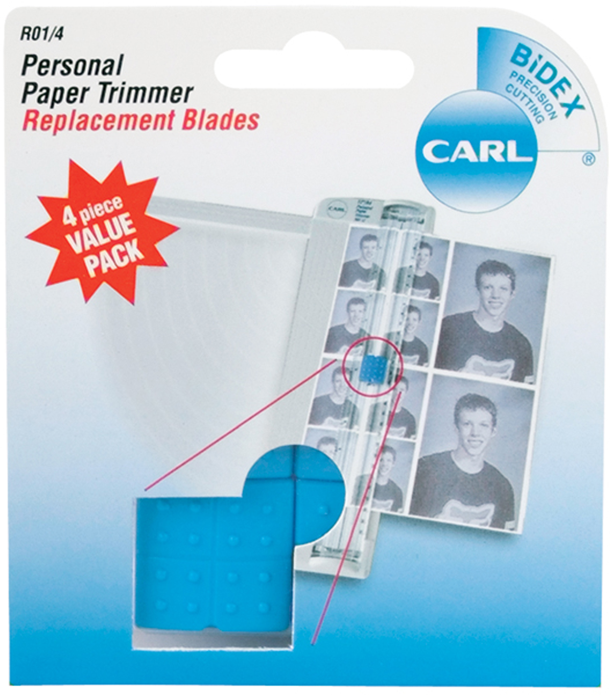 Carl 4 pk Personal Paper Trimmer Straight Replacement Blades