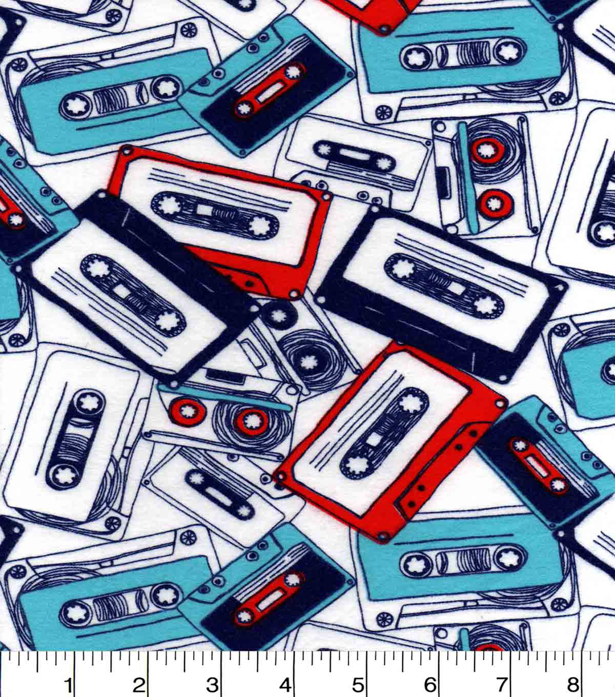 Snuggle Flannel Fabric 42\u0027\u0027-Red & Blue Cassette Tapes