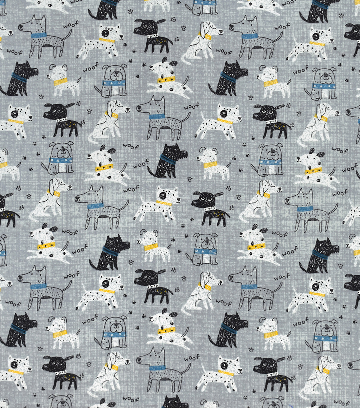 Snuggle Flannel Fabric-Skecthed Playful Pups Gray
