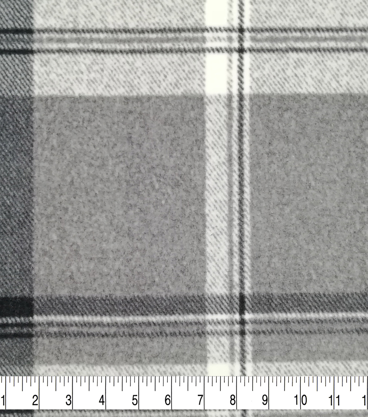 Luxe Fleece Fabric 59\u0022-Gray Black White Plaid