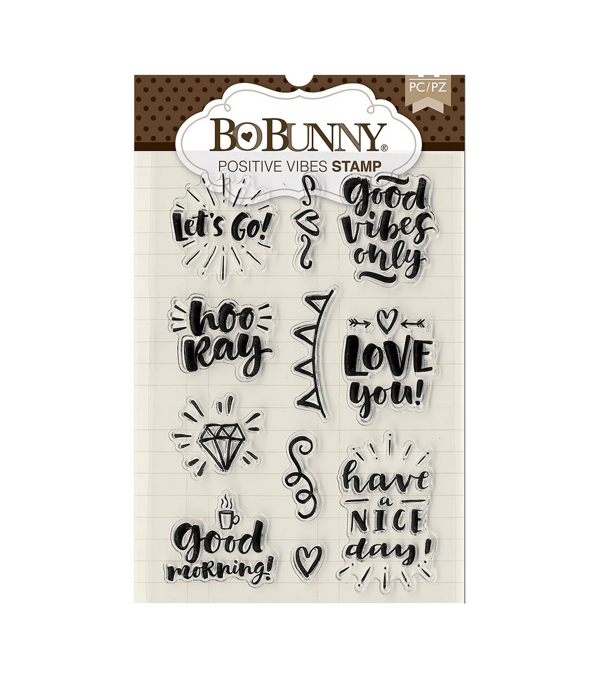 BoBunny 11 pk Clear Stamps-Positive Vibes