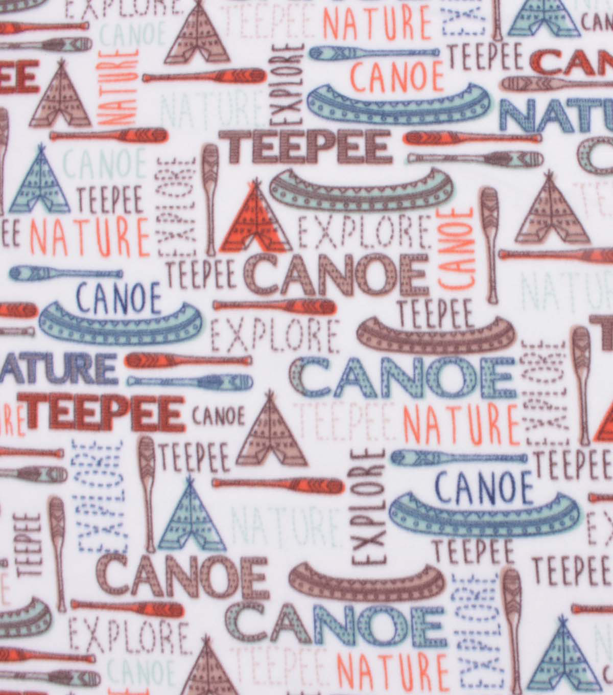 Blizzard Fleece Fabric-Camping Words