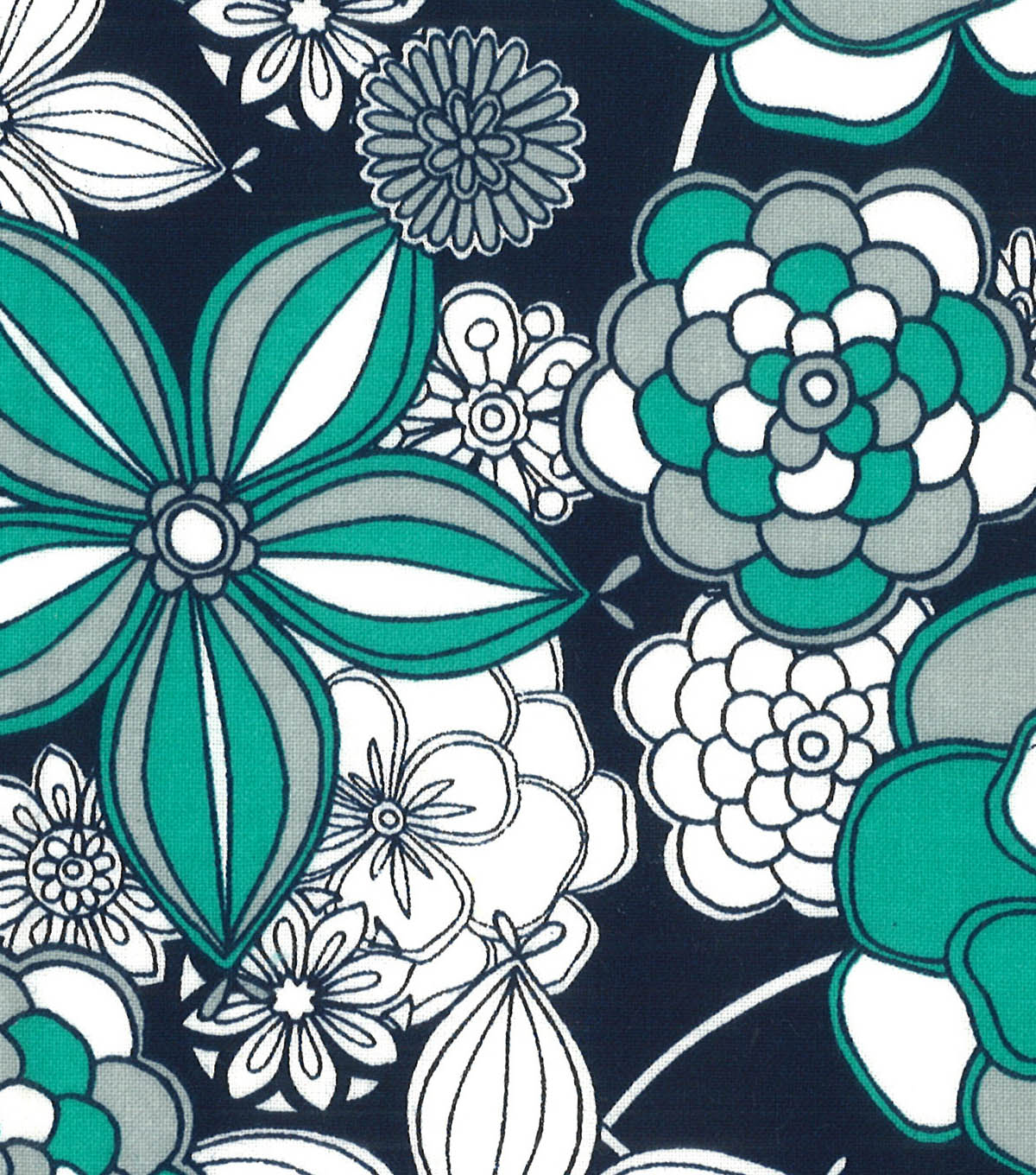 Quilter\u0027s Showcase Fabric -Pool Green & Navy Large Floral