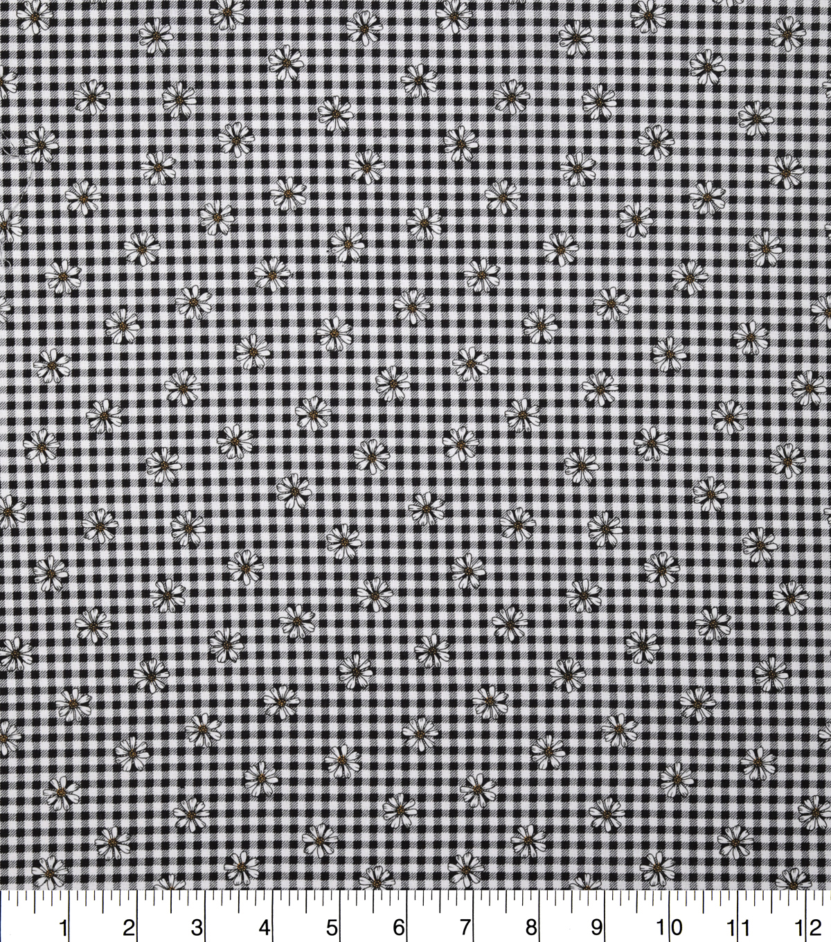 Keepsake Calico Cotton Fabric-Black Gingham Daisy