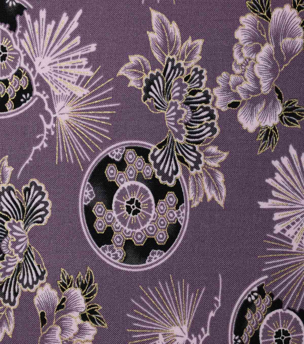 Premium Cotton Print Fabric -Purple & Metallic Floral Fans