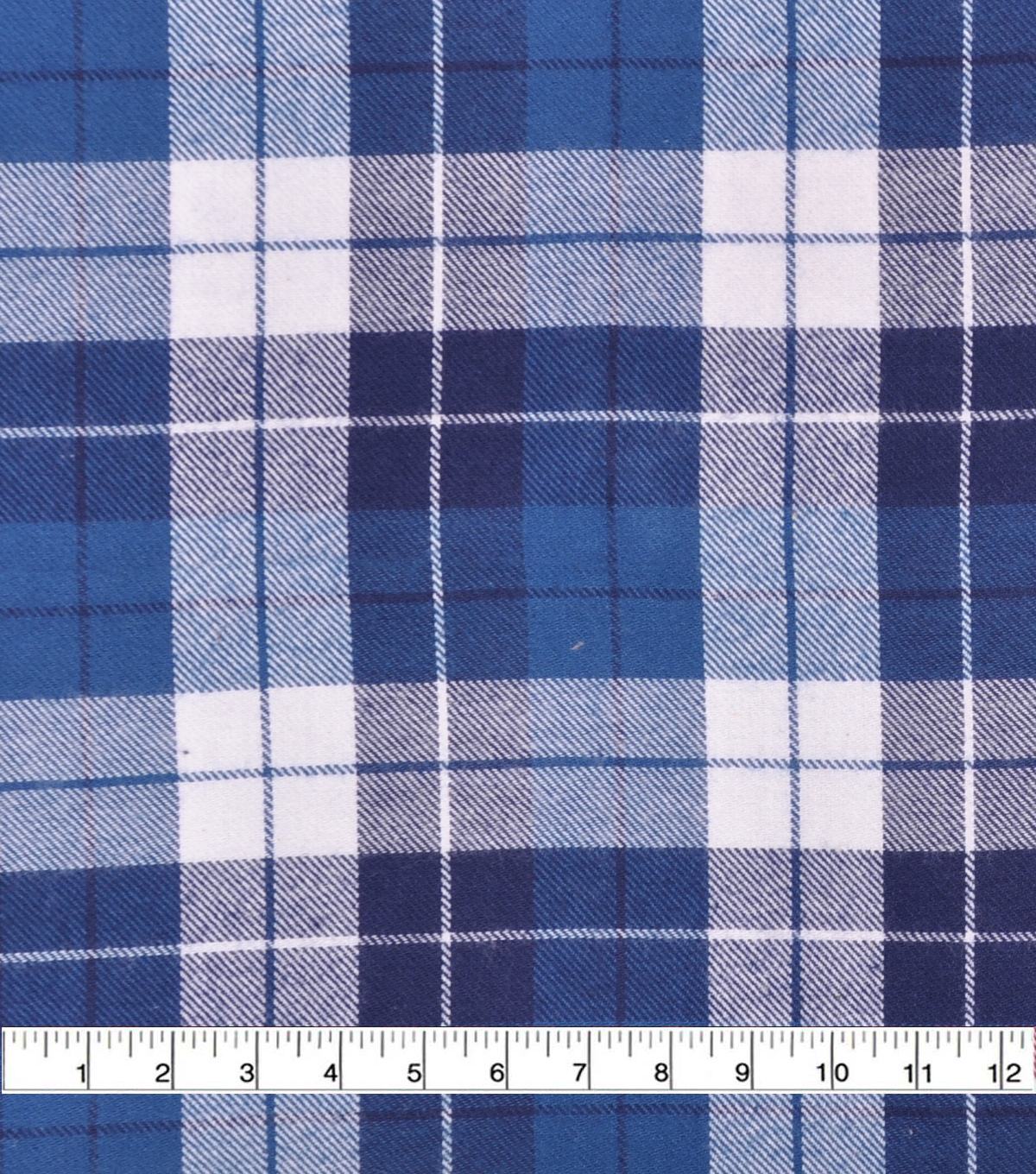 Flannel Shirting Fabric-Navy Teal White Squares Plaid