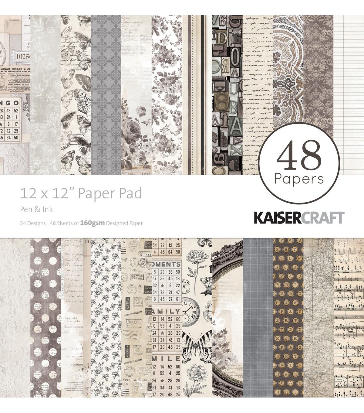 Kaisercraft Pen & Ink 48-sheets 12\u0027\u0027x12\u0027\u0027 Paper Pad