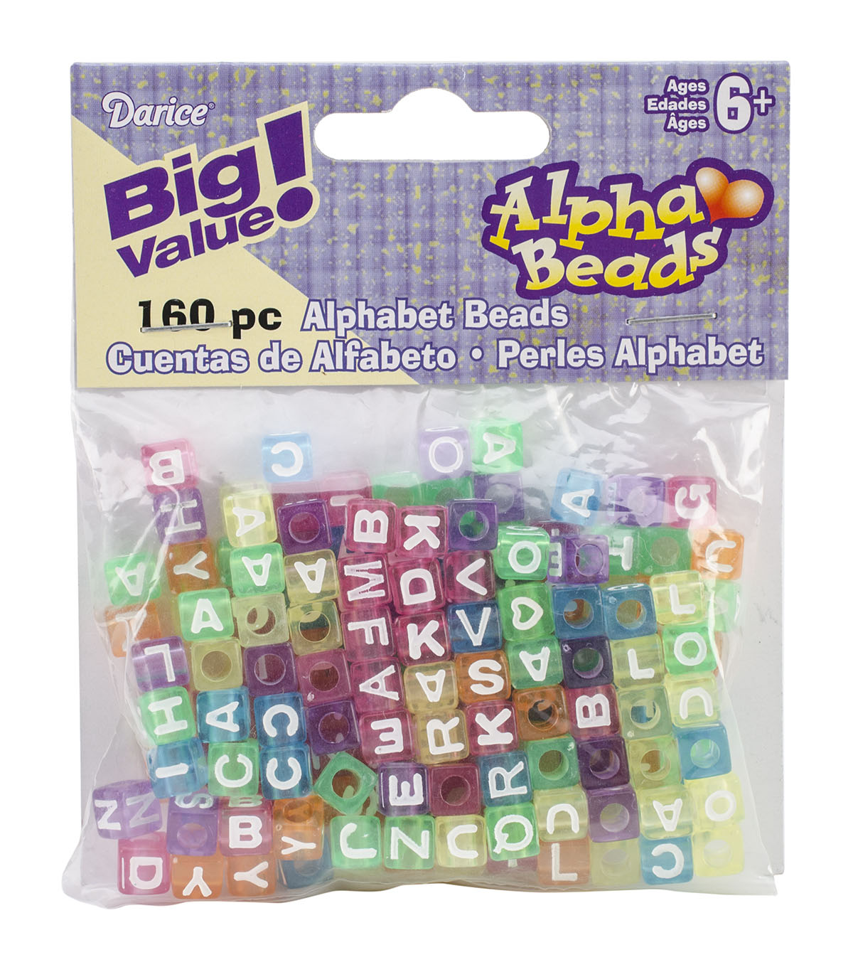 Big Value Plastic Alpha Beads Multi Color