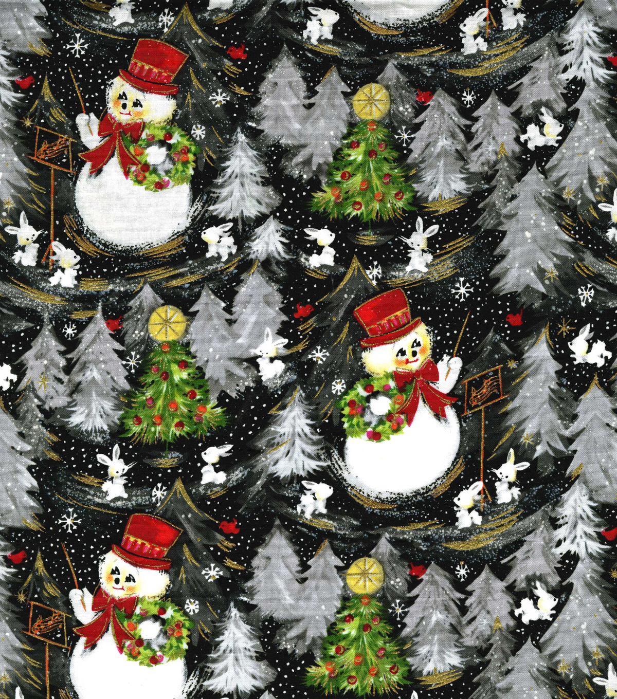 Christmas Cotton Fabric -Vintage Snowmen