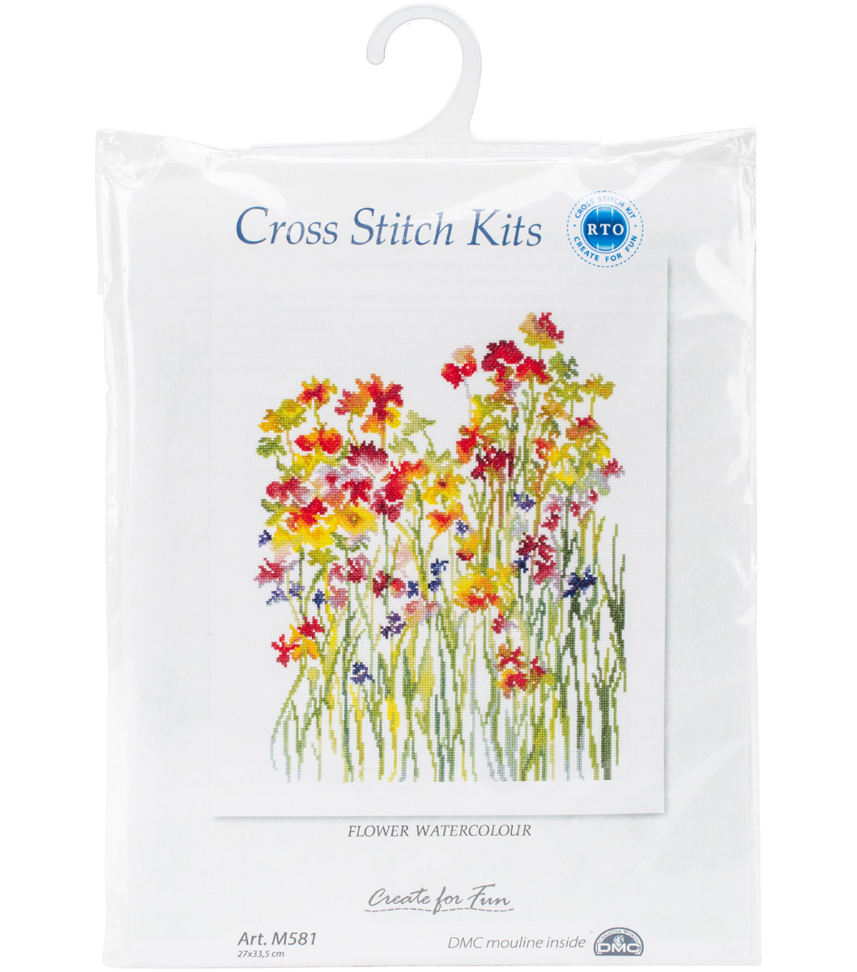Flower Watercolour Counted Cross Stitch Kit 14 Count