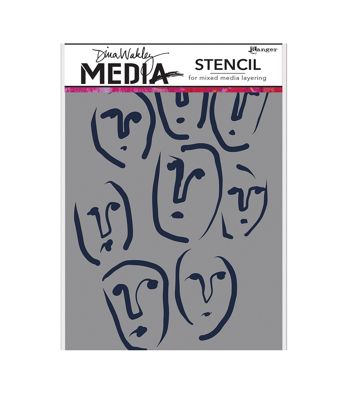 Dina Wakley Media Stencils 9\u0022X6\u0022-Circle Faces