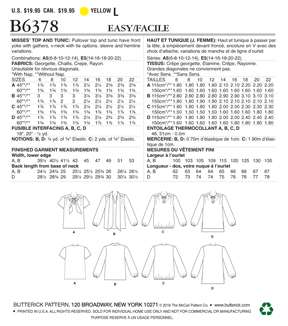 Butterick Pattern B6378 Misses\u0027 Gathered Tops & Tunics-Size 14-22