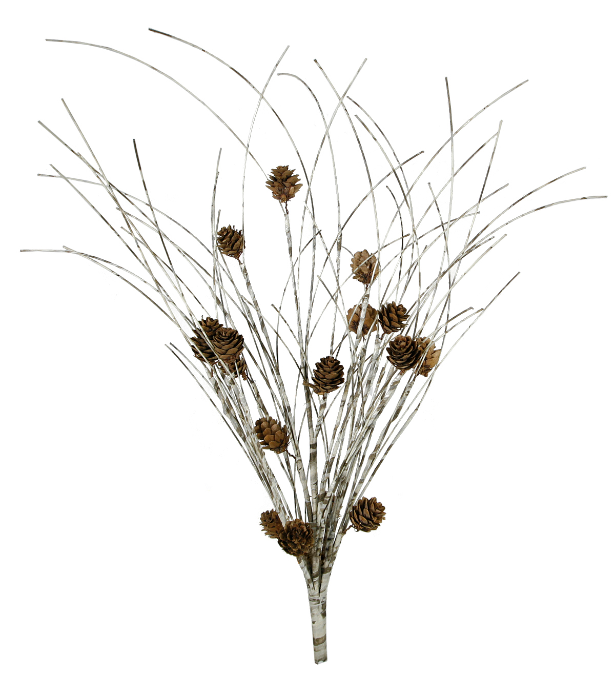 Blooming Holiday Christmas Farm White Birch with Pinecone Bush