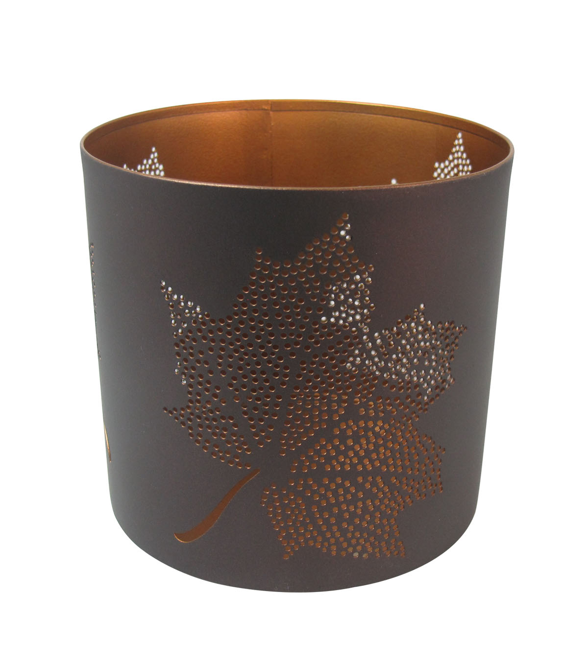 Simply Autumn Small Pierced Metal Candle Holder