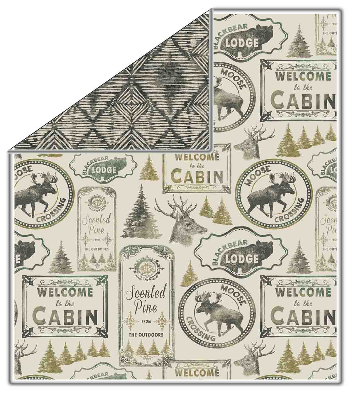 No Sew Fleece Throw-Sketched Moose Crossing
