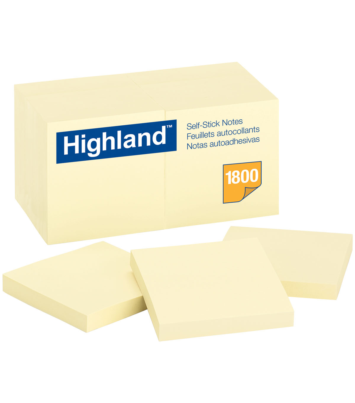 Highland 1800 pk 3\u0027\u0027x3\u0027\u0027 Self-Stick Notes-Yellow