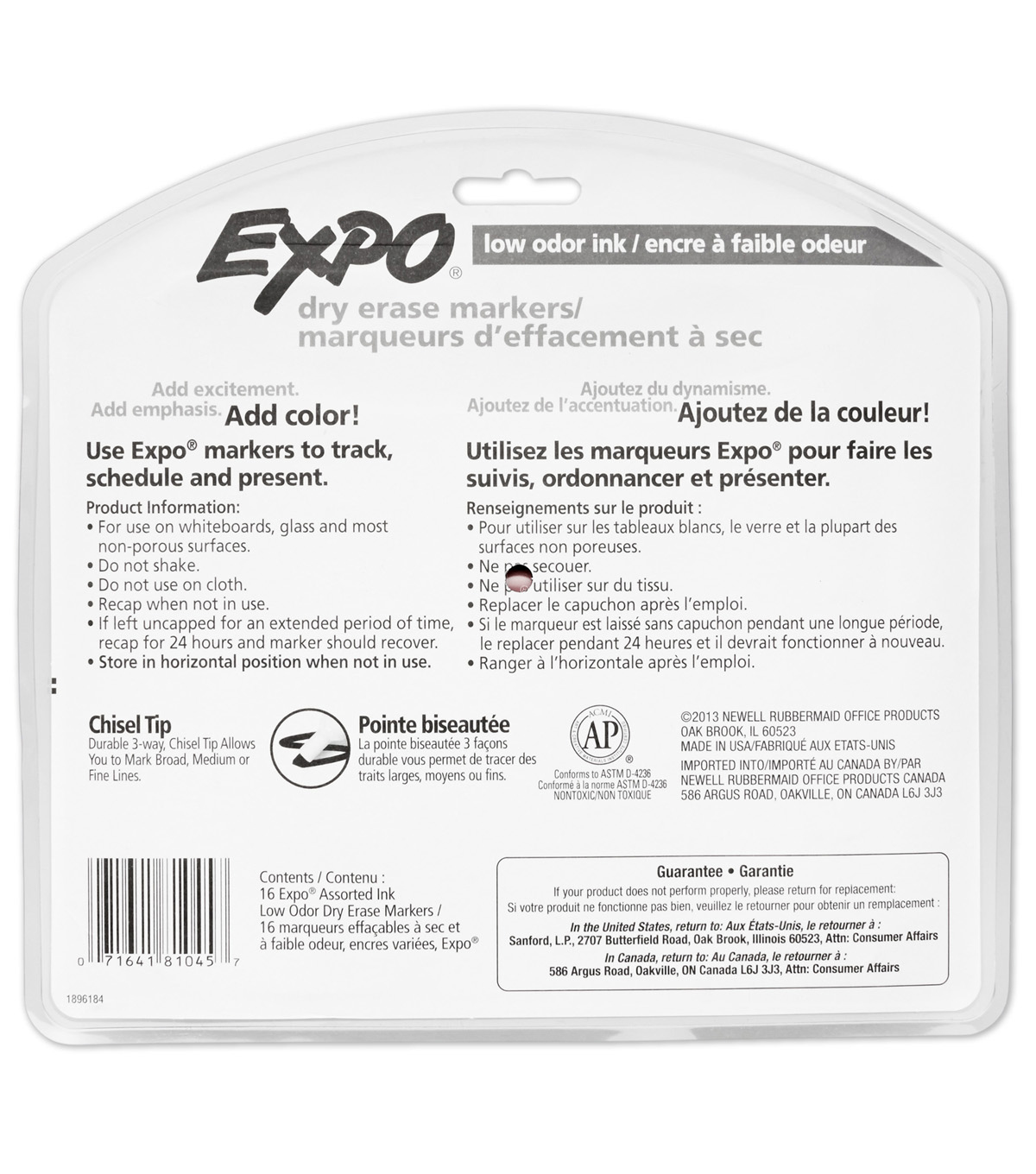 EXPO 16 pk Low Odor Chisel Tip Dry Erase Markers-Assorted