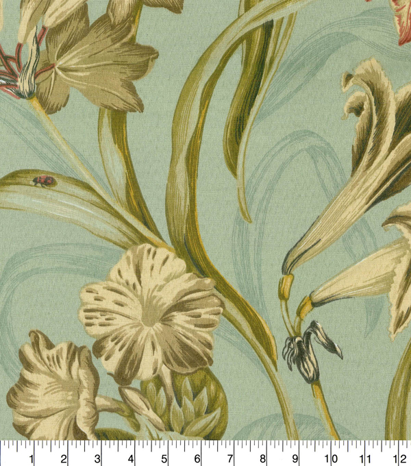 Waverly Sun N Shade Fabric 9\u0022x9\u0022 Swatch-Somerset Botanic Mist