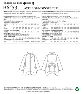 Butterick Pattern B6459 Misses\u0027 Stand-Collar, Gathered Top-Size 16-24