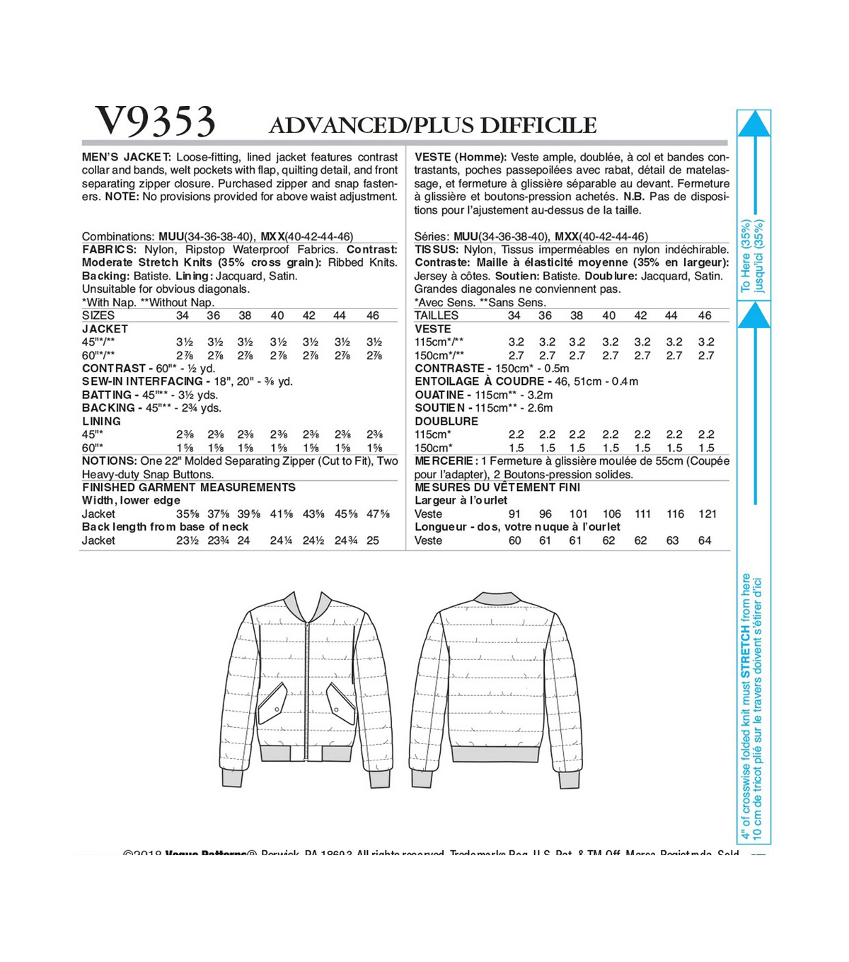 Vogue Pattern V9353 Men\u0027s Jacket-Size 34-36-38-40