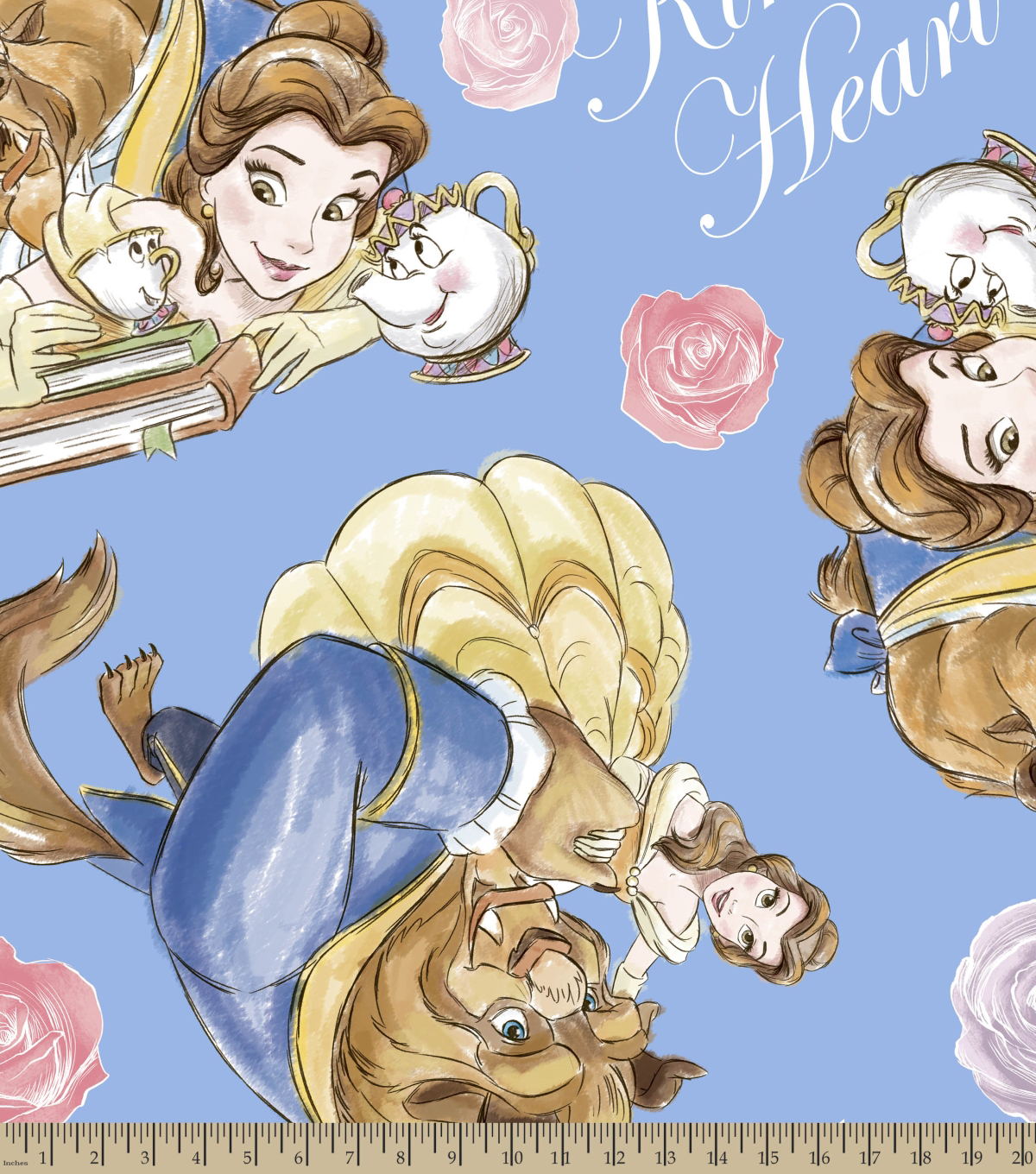 Disney Beauty & The Beast Fleece Fabric 59\u0027\u0027-Kind Heart