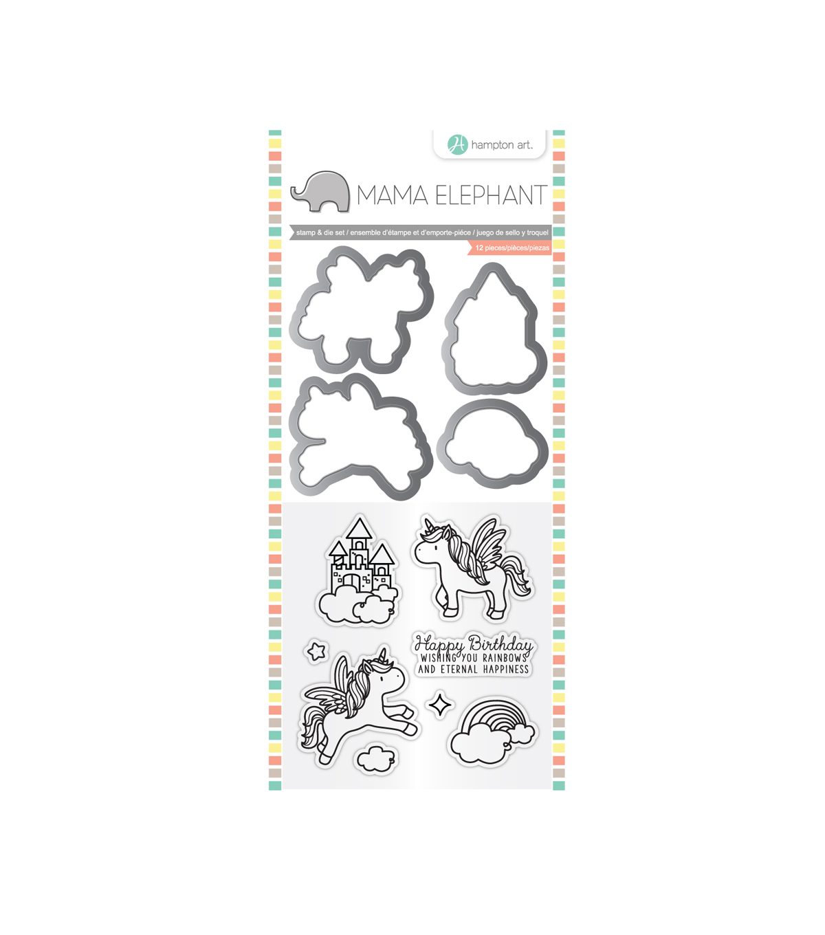 Mama Elephant Clear Stamp & Die Set-Over the Rainbow