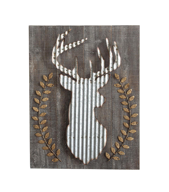 Wood Corrugated Metal Deer Wall Decor