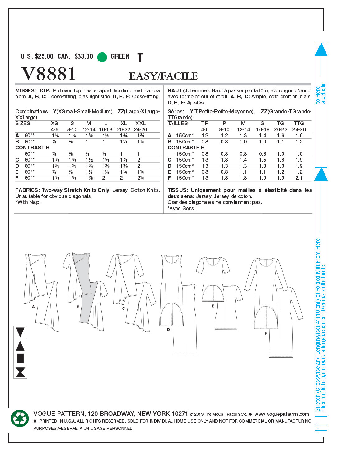 Mccall Pattern V8881 L-Xl-Xxl -Vogue Pattern